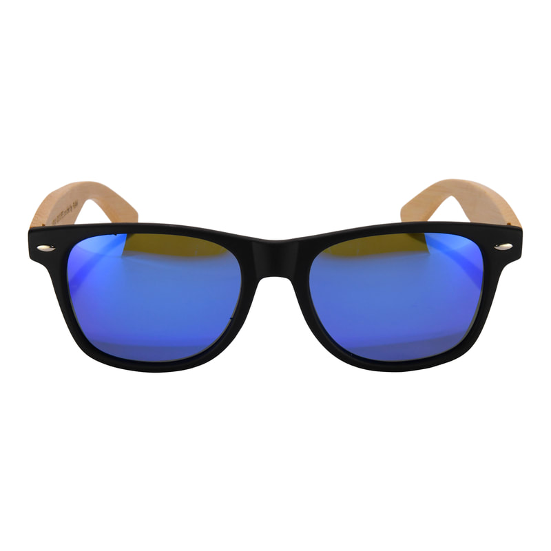 Bamboo framed sunglasses with blue mirrrored polarized lenses.