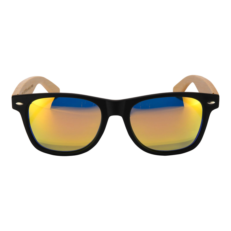 Bamboo sunglasses with orange polarized lenses.