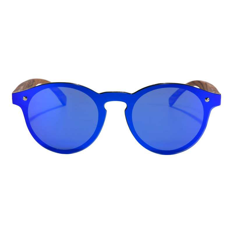Zebra Wood framed blue polarized sunglasses